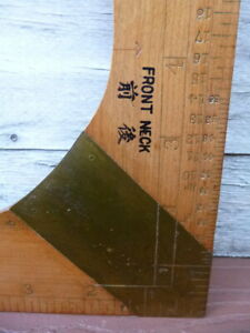 NOS Vintage Japanese Hawaii Tailors Dressmakers Sewing Square Wood amp; Brass $35.00