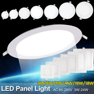 2 Pack Recessed LED Panel Light 6W 9W 12W 15W 18W Ceiling Down Lights Fixture US