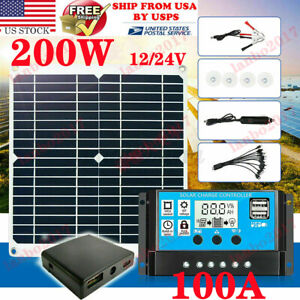 200W Solar Panel Kit 100A 12V battery Charger with Controller Caravan Boat USA #