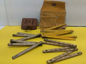 2 Leather Tool Pouches and 3 Vintage Folding Rulers Rulers Great for Display $18.88