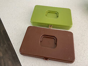 Lot of 2 Wilson WIL HOLD Green Brown Plastic Storage SEWING THREAD BOX Case $33.99