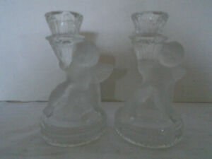 Set Of Two Angle Frosted Crystal Glass Candle Holder $24.99