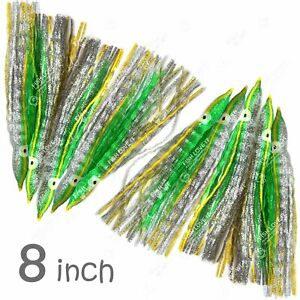10pcs Fish WOW ® Green Silver 8quot; Squid Skirt Hoochies Crinkle Octopus soft Lures