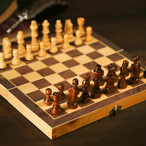 Large 30x30CM Vintage Wooden Chess Wood Board Hand Carved Crafted Folding Game $13.99