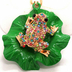 Hot Betsey Johnson Color Crystal Cute Frog Lotus Leaf Pendant Chain Necklace