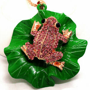 Hot Betsey Johnson Pink Crystal Cute Frog Lotus Leaf Pendant Chain Necklace