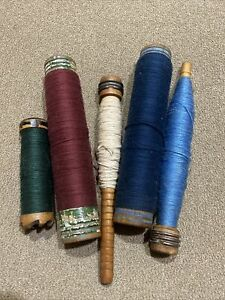 LOT OF 5 VINTAGE THREAD WOOD INDUSTRIAL SPOOLS BOBBINS SPINDLES WITH THREAD $19.99