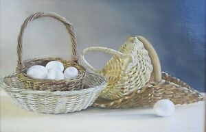 Super Realism Thomas Hemlock Still Life Oil Painting Antique Baskets With Eggs $225.00