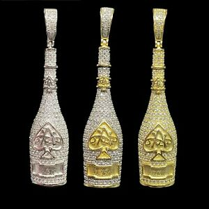 925 Sterling Silver Ace of Spades Champagne Bottle Charm Pendant 3 Colors $29.99