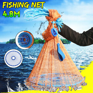 4.8M 16FT Hand Easy Throw Manual Fishing Net Bait Casting Galvanized Sinker US $35.67