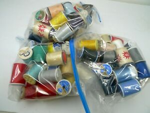 Estate Used and New Vintage Thread and Spools 3 Bags 3 4 Full $14.99