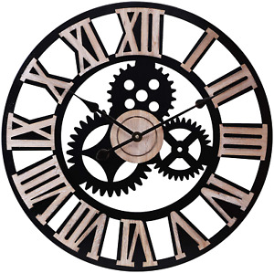 INFINITY TIME Silent 24Inch Metal Gear Wall Clock Large 3D Retro Rustic Luxury $73.50