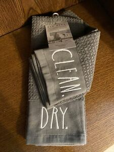 """Rae Dunn Gray Kitchen Dish Hand Towels 2 Pack """"DRY"""" """"CLEAN"""" Both 16"""" x 26"""""""