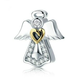 925 Sterling Silver Angle Heart Charm Beads With Gold Heart CZ Charms Pendant $10.75
