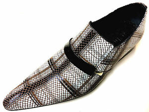 Chelsy Fancy Leather Mens Shoes Beige Brun Checked Designer Slippers 45 $276.01