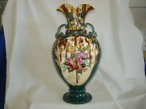 Antique Japanese Moriage Satsuma Earthenware Vase Very Unusual Decor