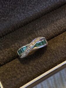 emerald sterling silver ring size 5.5 $50.00