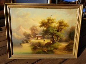 Antique Landscape Painting Early 1900s Framed Oil OriginalUnsigned Mountain $119.99