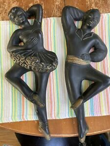 MCM Chalkware Pair Wall Plaques Hangings Male Female Dancers Flaw