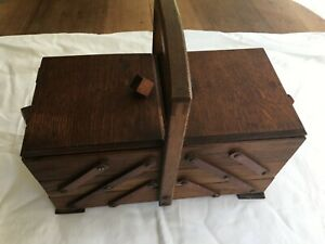 French sewing wood expendable box Vintage Knitting Crochet Storage Mid Century $69.00