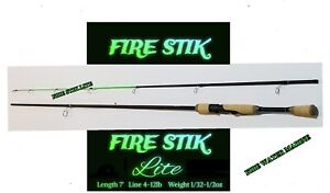 Fire Stik Lite Spinning Rod Crappie Trout Bass 2 piece Fishing Rod