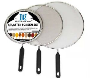 Stainless Steel Splatter Screen Guard Set of 3 8 10 and 11 Cooking Shield