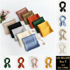 Solid Color Women 28 x 28 Square Silk Large Scarf Wrap Shawl Stole Scarves $5.99
