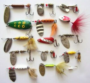 15 x Vintage Mepps Abu Rooster Tail Mister Twister Fresh Water Spinners Lures