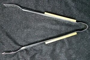 BBQ Silver Toothed Tongs with Wood Handles
