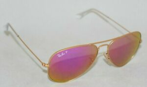 Ray Ban RB3025 112 1Q Gold Cyclamen Flash Polarized Lens. New Other