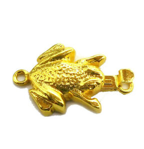 1 PC 30X22X6MM FROG BALI BOX CLASP 1 STRAND 18K GOLD PLATED 545