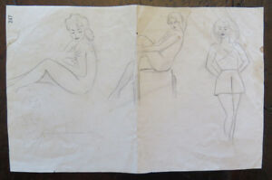 Drawing Vintage Nude Female Pinup Original Years Fifty Pencil Basket P28.5 $16.54