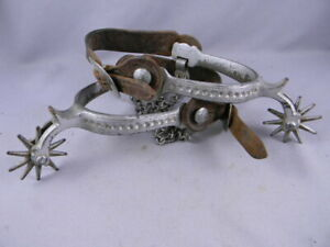 North And Judd Spurs Moon And Stars Antique Cowboy W Leathers Heel Chains