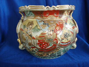 Rare Antique Satsuma Spittoon with Nice Figures and Signed on Base