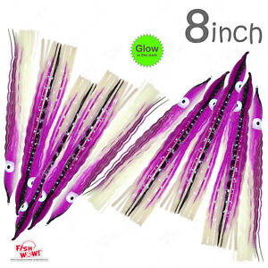 10pcs Fish WOW ® Glow Purple 8quot; Squid Skirt Hoochies Crinkle Octopus soft Lures