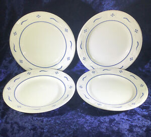 """Set of 4 Longaberger Blue Woven Traditions Salad Bread Plates 7 1 4"""" $35.99"""