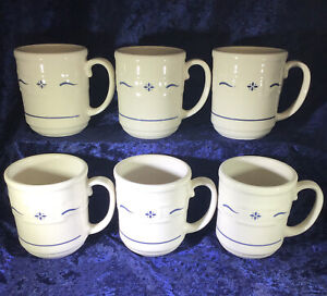6 Longaberger Pottery Woven Traditions Blue Coffee Mugs Cups $83.99
