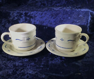 Set of 2 Longaberger Pottery Woven Traditions Blue Tea cups and saucers $17.99