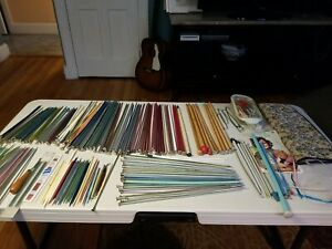 Huge Lot of Vintage Knitting amp; Double Point Knitting Needle Sets Metal amp; Plastic $75.00