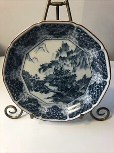 VINTAGE CHINESE MING PORCELAIN DECAGON PLATE BLUE WHITE With GOLD TRIM RARE $255.00