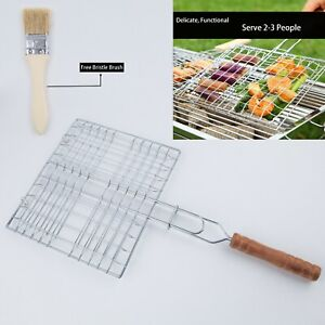 Barbecue Grilling Basket Grill BBQ Net Steak Meat Fish Mesh Holder WT.Free Brush