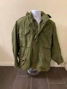 Vintage Military Olive Green Cold Weather Field Coat With Hood Men Medium Short $26.99