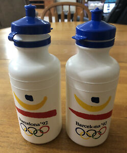 1992 Barcelona Olympics Lot Of 2 Water Bottles Pop Up Top Made In USA