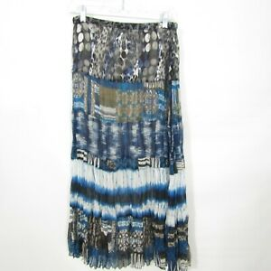 Chicos Skirt Vanity size 0 Blue tiered print Long Modest Elastic waist Lined $19.99