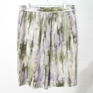 Chicos Skirt Chicos size 1 = M 8 Purple Green Watercolor Lined Pull on NEW $19.99