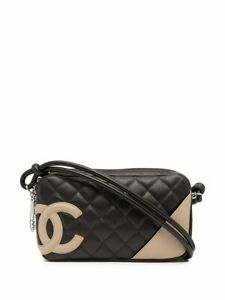 CHANEL Vtg 2004 2005 Rare Cambon Brown Beige Quilted CC Logo Small Clutch Purse $1450.00