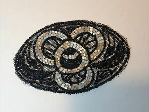 Antique Beaded Motif Trim Sewing Black beads Embellishment 1920s 2 Available Old GBP 7.83