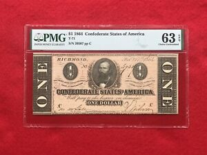 T 71 1864 $1 One Dollar CSA Confederate Note *PMG 63 PPQ Choice Uncirculated*