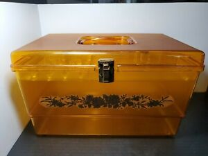 Vintage Wilson Wil Hold Sewing Box Translucent Yellow Plastic Basket w Tray $34.99