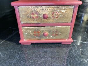 VINTAGE WOODEN 2 DRAWER CABINET STYLE TRINKETS JEWELRY BOX W Removable Drawer $16.00